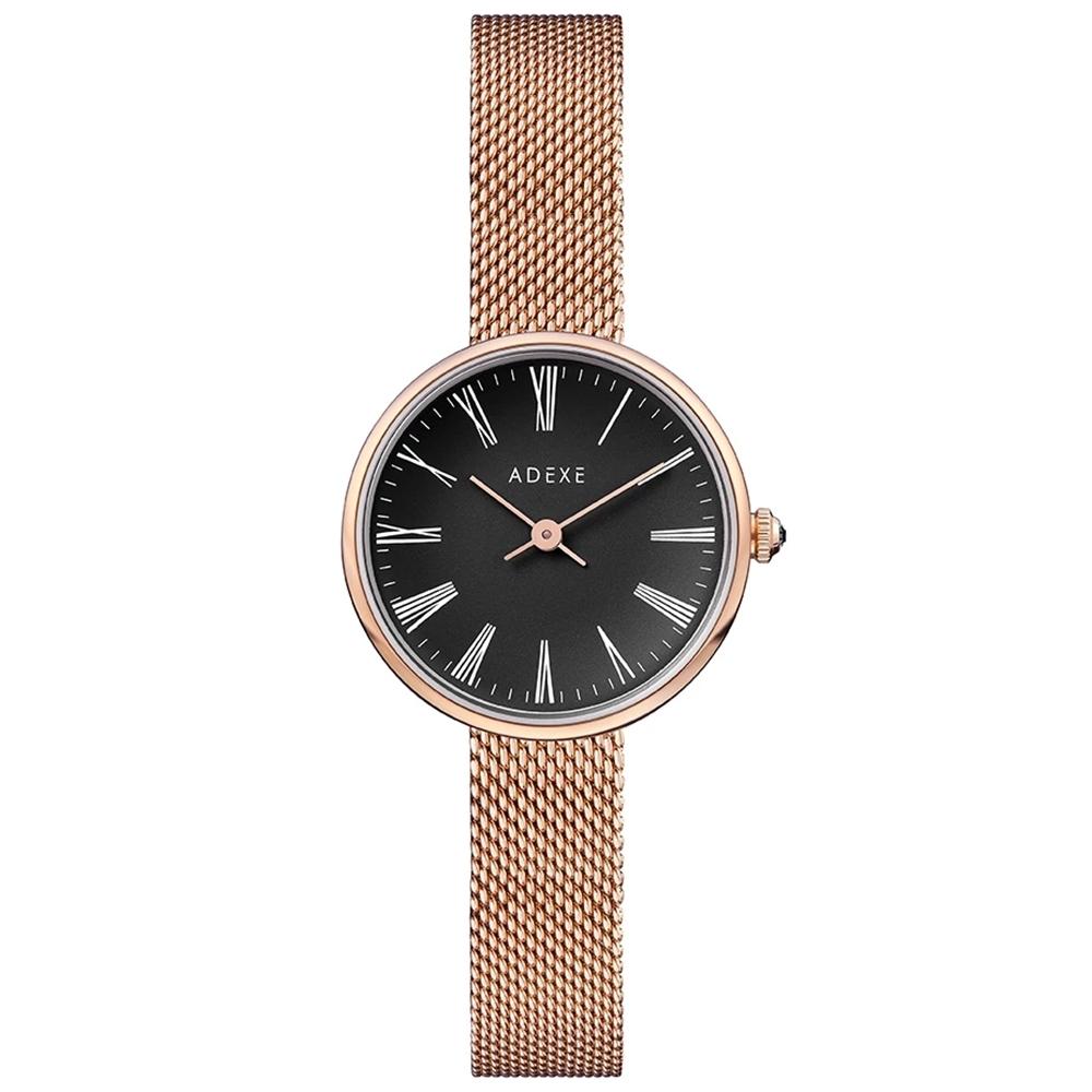 ADEXE 英國手錶 MINI SISTINE羅馬刻度 黑錶盤x玫瑰金錶框米蘭錶帶30mm