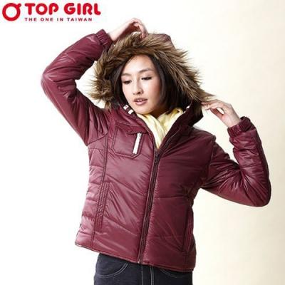 【TOP GIRL】連帽3M舖棉外套-紅色