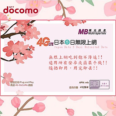日本上網卡 日本網卡 日本5天無限上網吃到飽上網卡