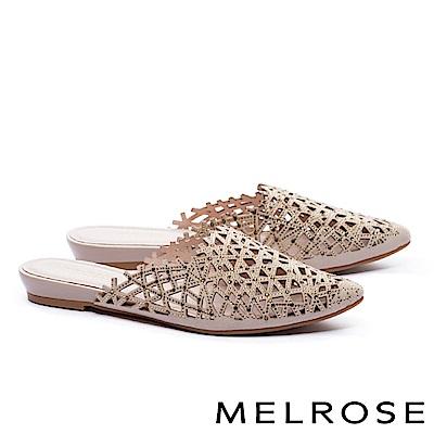 拖鞋 MELROSE 奢華自信晶鑽沖孔尖頭低跟拖鞋-米