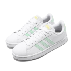 adidas 休閒鞋 Grand Court 復古 低筒 女鞋 愛迪達 基本款 皮革鞋面 穿搭 上學 白 綠 EG7643