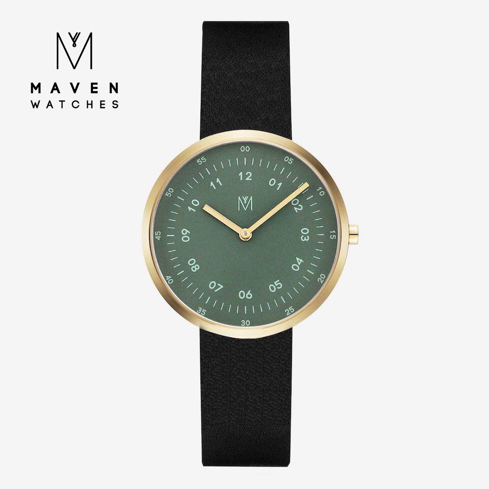 MAVEN WATCHES 匠藝錶款 34mm (金框橄欖綠錶面/黑皮革) @ Y!購物