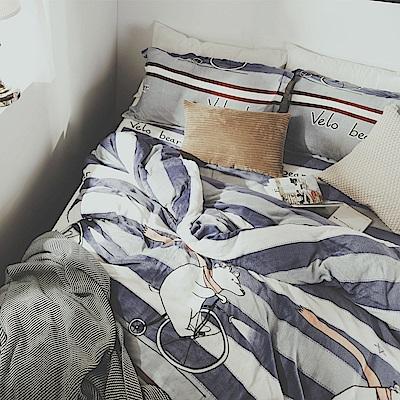 絲薇諾 單車熊 雙人四件式-法蘭絨 鋪棉加厚床包被套組