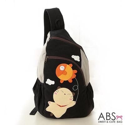 ABS貝斯貓 可愛貓咪手工拼布 單肩背包(典雅黑)88-158