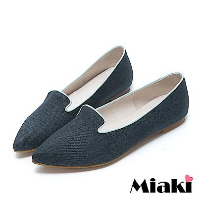 Miaki-紳士鞋真皮日式女伶和風尖頭低跟包鞋 單寧