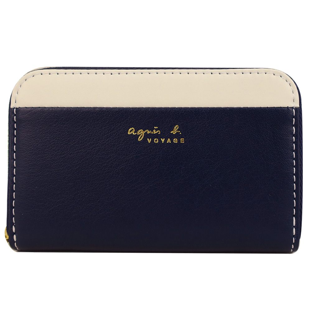 agnes b. 燙金雙色皮革零錢夾(深藍/米)