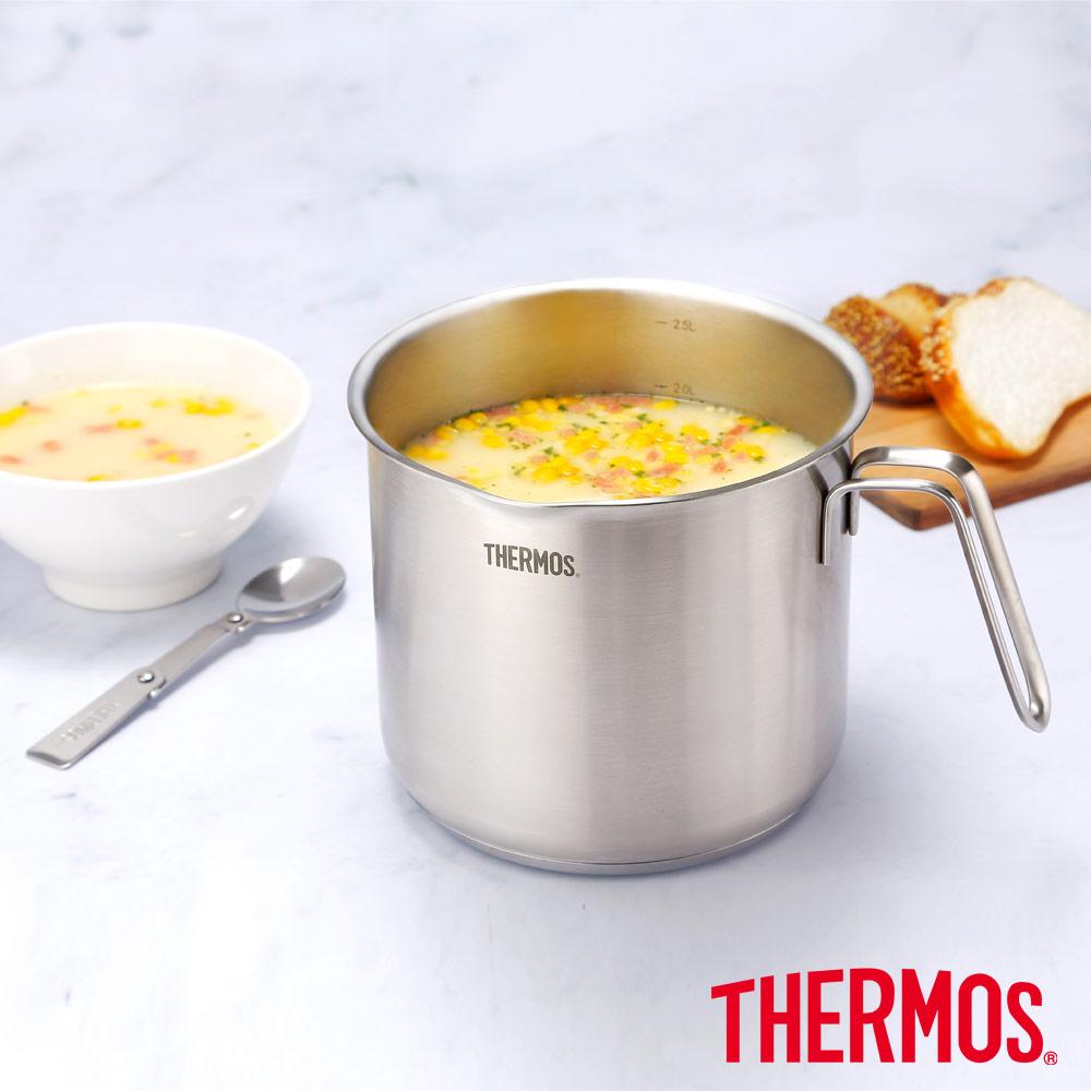 THERMOS膳魔師不鏽鋼彎柄牛奶鍋16cm(MLK-S16B)