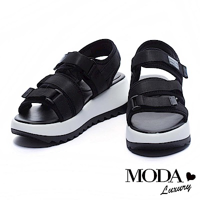 涼鞋 MODA Luxury 異材質拼接撞色織帶厚底涼鞋-黑