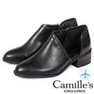 Camille's 韓國空運-側V口拉鍊踝短靴-黑色