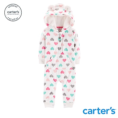 Carter's 繽紛愛心耳朵造型連身裝