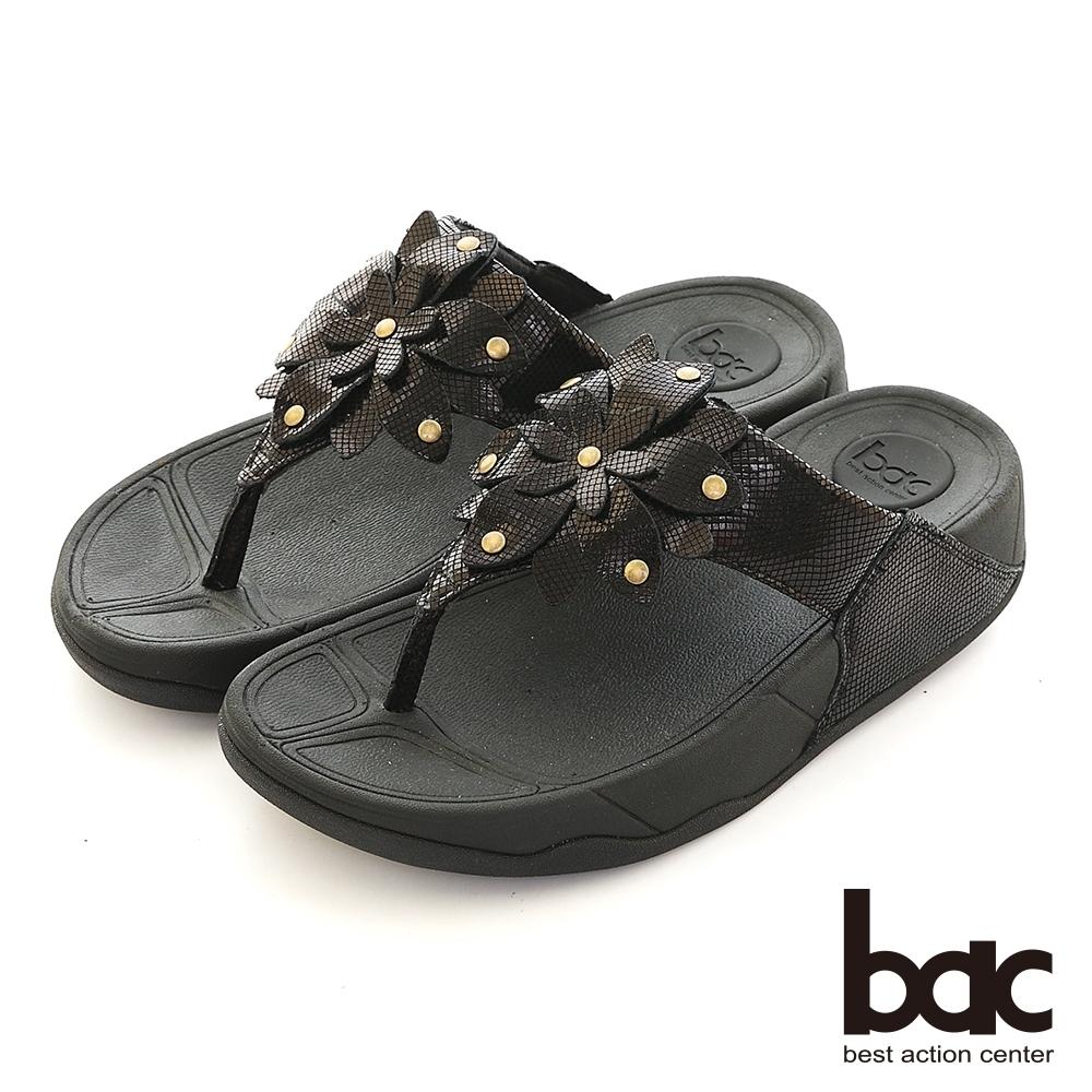 【bac】輕量化厚底台一朵花夾腳拖涼鞋-黑
