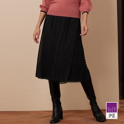 ILEY伊蕾 鋸齒緹花壓摺網紗拼接楊柳雪紡活片長裙(黑)1213062237