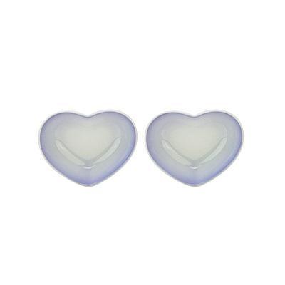LE CREUSET 瓷器心型盤(小) 2入(淡粉紫)