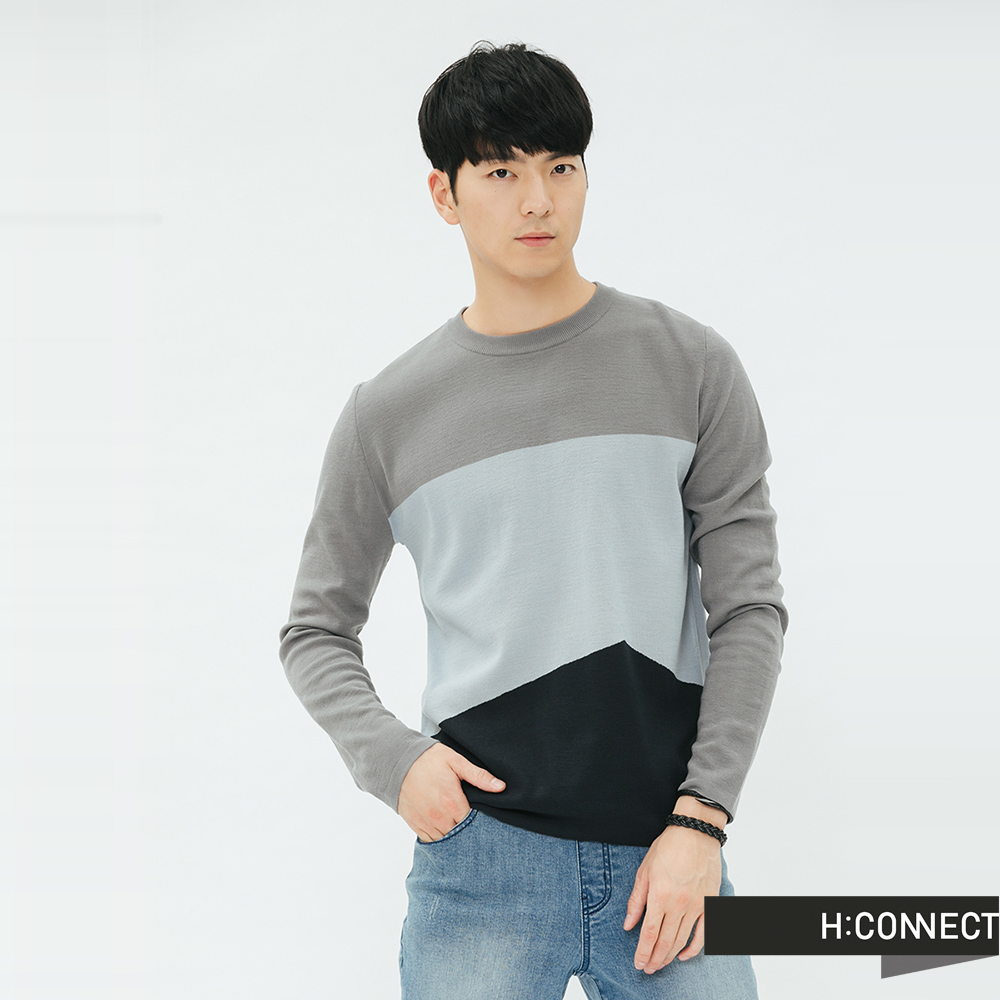 H:CONNECT 韓國品牌 男裝-拼接撞色細針織上衣-灰 @ Y!購物