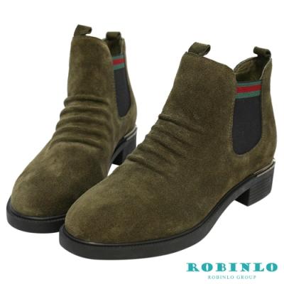 Robinlo 隨興抓皺復古休閒短靴 綠色