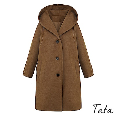 翻領連帽毛呢大衣外套 TATA