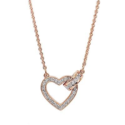 SWAROVSKI 施華洛世奇 鏤空愛心圓環造型水晶玫瑰金色項鍊
