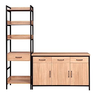 D&T德泰傢俱格萊斯原切木輕工業風中抽層架+4.5尺餐櫃-196.2x45.3x196cm