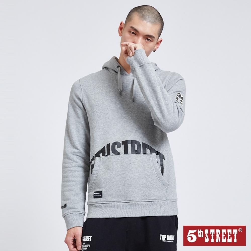 5th STREET 貼袋印字 厚連帽T恤-男-麻灰色