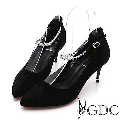 GDC-羊皮質感高貴尖頭水鑽繞踝高跟鞋-黑色