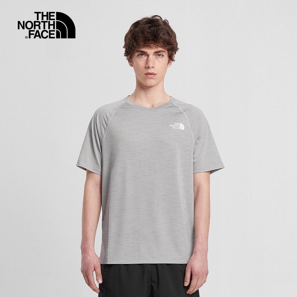 The North Face北面男款淺灰色防曬吸溼排汗圓領短袖T恤|4NDIDYX