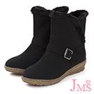 JMS-暖冬時尚流線型毛滾邊內刷毛短靴-黑色