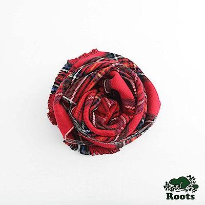 Roots-配件- 哈福斯特格子圍巾 - 紅色