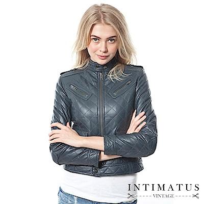 INTIMATUS 真皮 香奈兒菱格鋪棉短版軍裝風小羊皮皮衣 獨特鐵灰