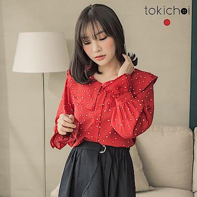 東京著衣 初戀來了大紅愛心荷葉邊襯衫-S.M(共一色)
