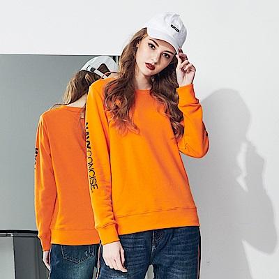 CACO-品牌印刷大學T-情侶款(兩色)-女【RNC035】