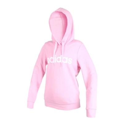 ADIDAS 女長袖連帽T恤-慢跑 愛迪達 粉紅白