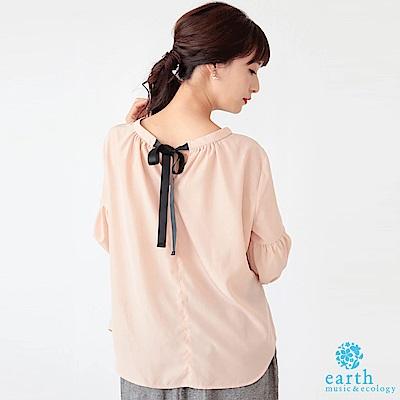 earth music 後頸蝴蝶結緞帶設計蓬袖上衣