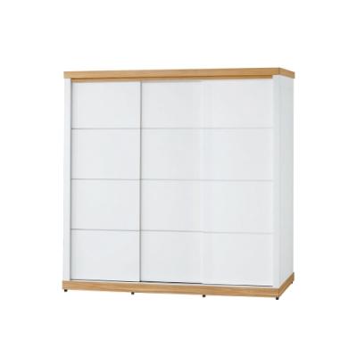 柏蒂家居-貝莉6.8尺推門/拉門衣櫃(四吊桿+單抽屜)-204x63x200cm