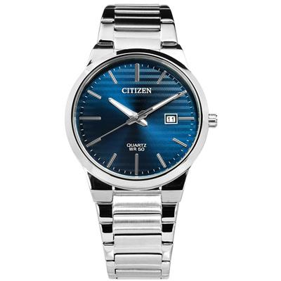 CITIZEN 礦石強化玻璃日期手錶(BI5060-51L)-深藍色/39mm