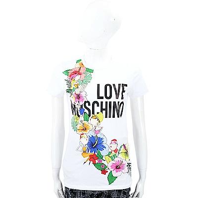LOVE MOSCHINO 扶桑花女孩白色棉質短T恤