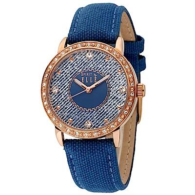 ELLE -沉穩晶鑽真皮腕錶-玫瑰金/蔚藍-32mm