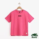 女裝ROOTS -立體刺繡厚棉短袖T恤-粉紅