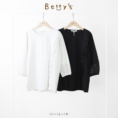 betty's貝蒂思 荷葉袖蕾絲拼接上衣(黑色)