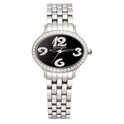 PARKER PHILIP派克菲利浦世紀女王華麗晶鑽腕錶(磄瓷黑/鋼帶)