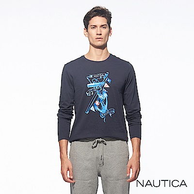 Nautica水彩繪畫風長袖TEE-深藍