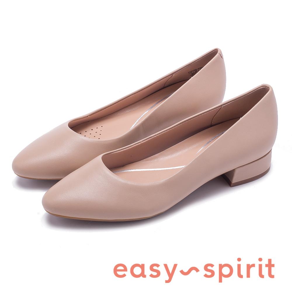 Easy Spirit SECALDISE 真皮尖頭低跟鞋-米色