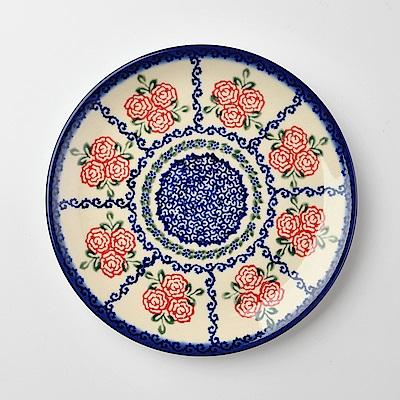 【波蘭陶 Vena】 漫野薔薇系列 圓形餐盤 19cm 波蘭手工製