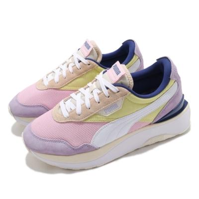 Puma 休閒鞋 Cruise Rider Silk Road 女鞋 厚底 增高 異材質拼接 麂皮 粉 黃 37507201