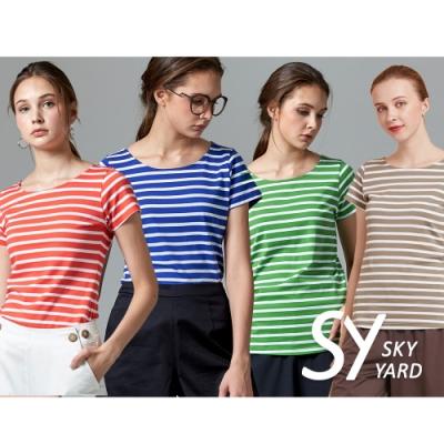 【時時樂】SKY YARD 天空花園-都會造型圓領條紋短袖T恤上衣-六色