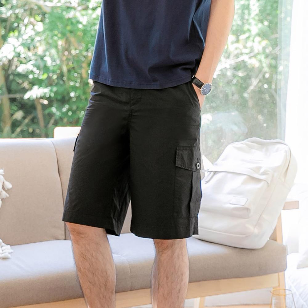 棉質鬆緊抽繩口袋工作短褲-OB大尺碼