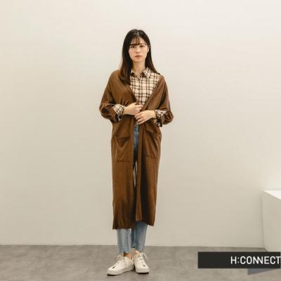 H:CONNECT 韓國品牌 女裝 -柔軟純色開襟針織外套-棕色