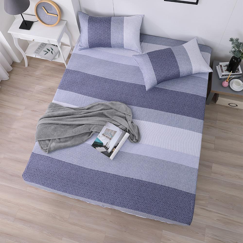 岱思夢 單人100%天絲床包枕套二件組 麻趣布洛-藍