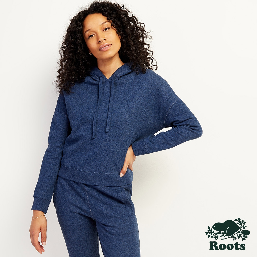 Roots女裝-丹寧色連帽上衣-靛藍色