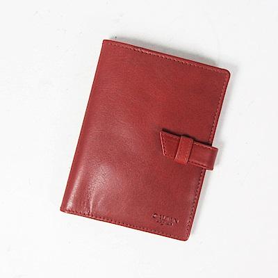 CALTAN-真皮護照夾 卡片層護照 護照收納 牛皮 證件護照套-1831cd-red