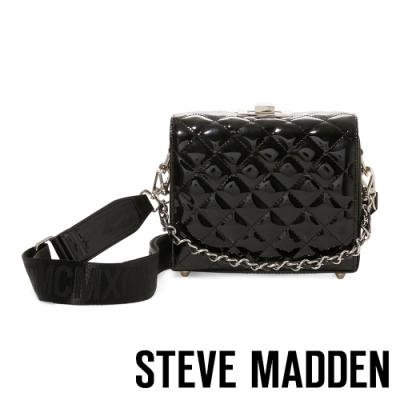 STEVE MADDEN-BCHRISSY 亮點漆面菱格手提斜背兩用包-黑色